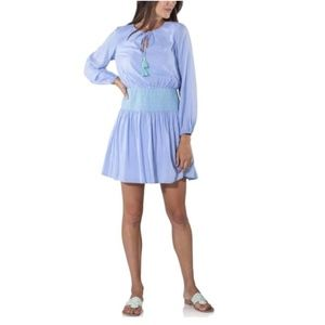 Sail to Sable Smocked Dress Large Fit & Flare Blue